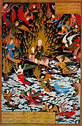 Persian miniature 1550 AD depicting the Prophet Muhammad ascending on the Burak into Heaven, a journey known as the Miraj