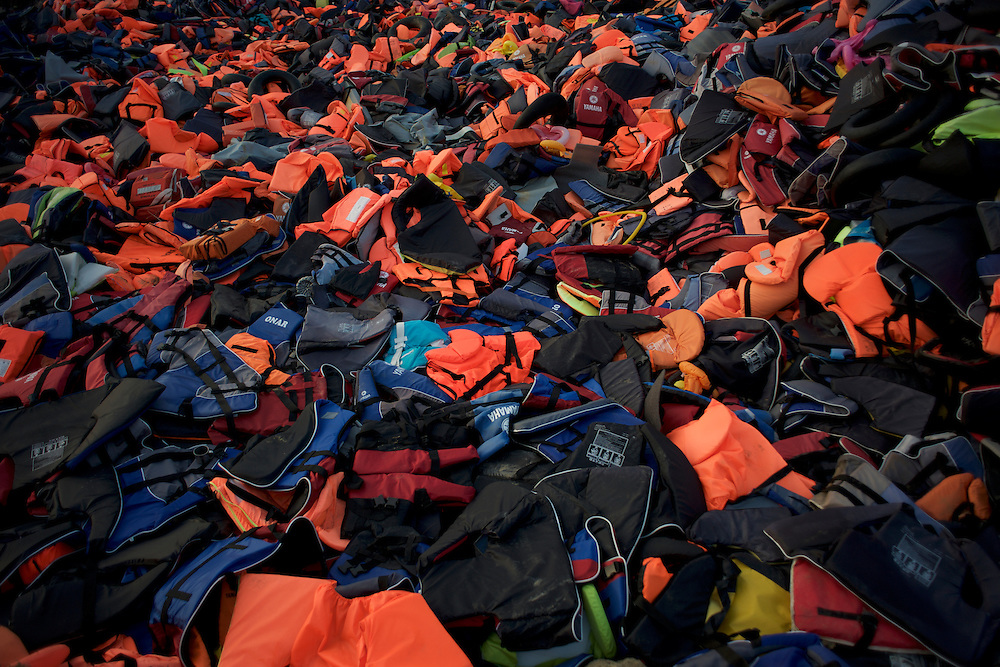 Thousands of life-vests are seen dumped in a a hilltop near Molyvos in Lesbos.