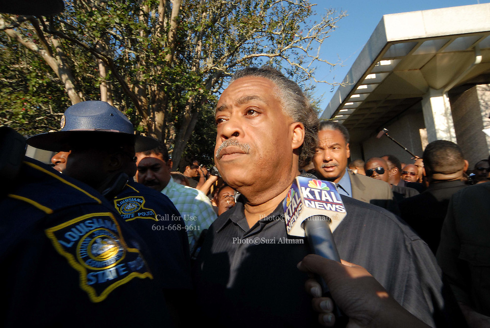 Rev Al Sharpton is surrounded by Louisiana State police and mobed by the media as he starts the march from the courthouse to the high school.(Photo /Suzi Altman)