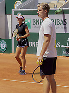 Luka MLADENOVIC, Kristina MLADENOVIC ?s brother and Coach during practice ahead of the Roland-Garros 2021, Grand Slam tennis tournament, Qualifying, on May 29, 2021 at Roland-Garros stadium in Paris, France - Photo Nicol Knightman / ProSportsImages / DPPI