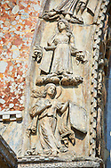 13th century Medieval Romanesque Sculptures from the above the central door of the facade of St Mark's Basilica, Venice, depicting sculptures on the theme Virtues and Beatitudes .