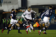 Leon Clarke of Sheffield United © makes a pass forward. EFL Skybet championship match, Millwall v Sheffield Utd at The Den in London on Saturday 2nd December 2017.<br /> pic by Steffan Bowen, Andrew Orchard sports photography.