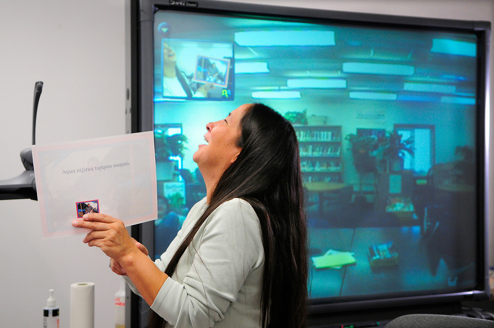 Alaska, Barrow. Jana Harcharek teaches Inupiaq language to other villages on video comference. Spring 2008