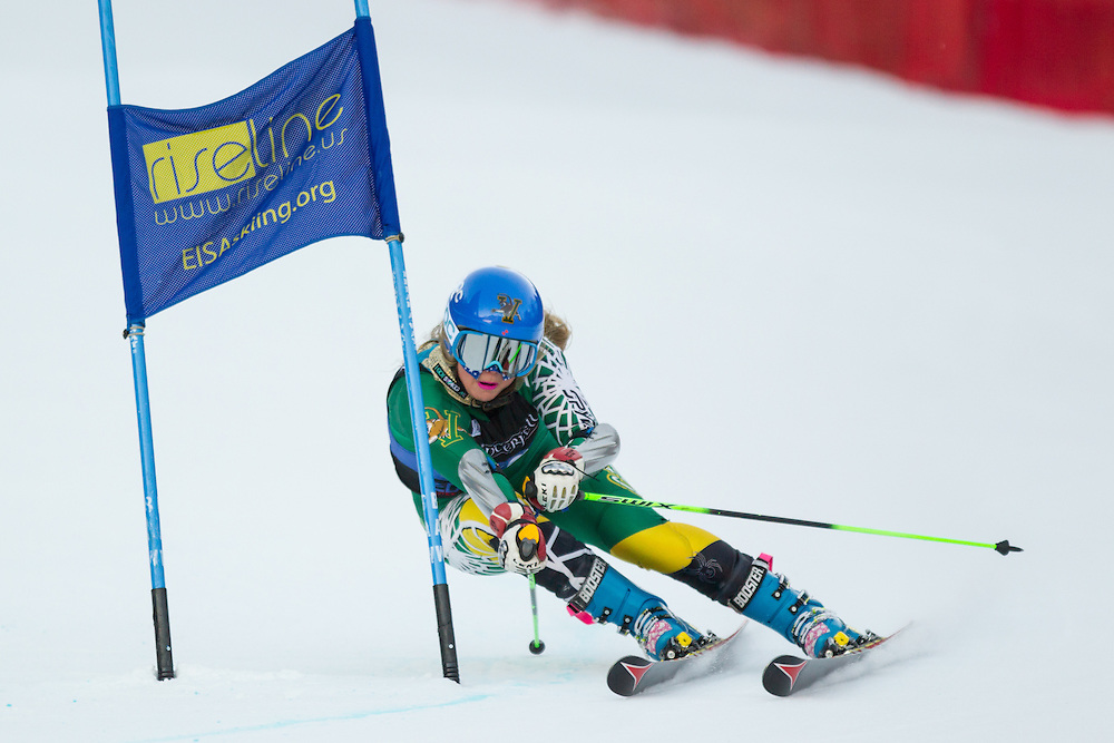 Elise Tefre of the University of Vermont, skis during the second run of the women's giant slalom at the University of New Hampshire Carnival at Attitash Mountain on January 24, 2014 in Bartlett, NH. (Dustin Satloff/EISA)