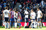 Harry Winks of Tottenham Hotspur (R) receives treatment on the pitch. Premier league match, Tottenham Hotspur v Crystal Palace at Wembley Stadium in London on Sunday 5th November 2017.<br /> pic by Steffan Bowen, Andrew Orchard sports photography.