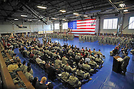 Department of Defense -- Commanding General Major General Brooks address the First Infantry Division and  families during their deployment ceremony in the King Filed House at Fort Riley, Kansas