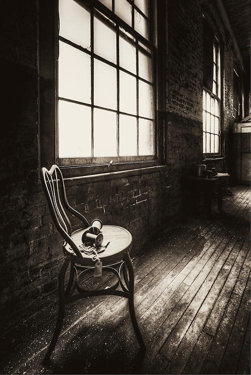 Lonaconing Silk Mill window and chair