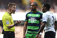 Referee Michael Jones talking to Danny Rose of Tottenham Hotspur and Ashley Williams, the Swansea City captain. Barclays Premier league match, Tottenham Hotspur v Swansea city at White Hart Lane in London on Sunday 28th February 2016.<br /> pic by John Patrick Fletcher, Andrew Orchard sports photography.