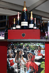 Champagne on display ahead of day five of Royal Ascot at Ascot Racecourse. PRESS ASSOCIATION Photo. Picture date: Saturday June 23, 2018. See PA story RACING Ascot. Photo credit should read: Nigel French/PA Wire. RESTRICTIONS: Use subject to restrictions. Editorial use only, no commercial or promotional use. No private sales.