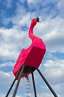 Phoenicopterus Rex: Welcome Home by: Josh Zubkoff from: San Francisco, CA year: 2017<br /> <br /> We are bringing our dream to life and that dream is a 40 foot tall flamingo! Inspired by Don Featherstone's classic, Phoenicopterus Rex will feature climbable legs and a sitting area on the back of this massive lawn ornament. As an art piece, Phoenicopterus Rex is a physical manifestation of Americana pop-kitsch meets modern industry: all bubblegum pink, fiberglass and steel. It aims to make the familiar absurd, exciting participants with the iconic image and then drawing them in so that they may interact with the structure. In its final installed stages, fake grass and a white picket fence will surround the flamingo, transforming the immediate space into a hosted experience. The piece will be lit by spotlights mounted to the surrounding picket fence, to be a beautiful pink beacon in the night.