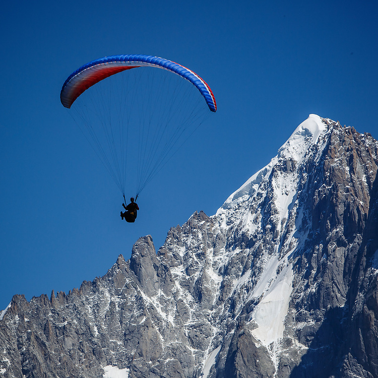Ever popular parapenting over Chamonix Valley