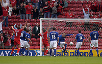 Photo. Glyn Thomas,  Digitalsport<br />Middlesbrough v Everton. Barclaycard Premiership.<br />Riverside Stadium, Middlesbrough. 21/09/2003.<br />The ball is cleared off the Everton line but Boro players and fans alike are convinced the home side should have gone 2-0 up.