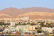 Israel, Eilat The city with the mountains of Eilat in the background