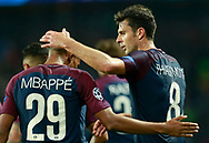 Paris Saint Germain's Italian midfielder Thiago Motta salutes Paris Saint Germain's French forward Kylian Mbappe during the UEFA Champions League, Group B football match between Paris Saint-Germain and Bayern Munich on September 27, 2017 at the Parc des Princes stadium in Paris, France - Photo Benjamin Cremel / ProSportsImages / DPPI