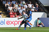 Bobby Duncan of England (15) battles with Nicol? Armini of Italy (5) during the UEFA European Under 17 Championship 2018 match between England and Italy at the Banks's Stadium, Walsall, England on 7 May 2018. Picture by Mick Haynes.
