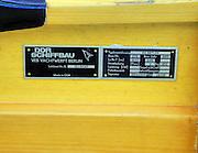 Berlin-Grünau. GERMANY.  Boat Tags, Badges, Equipment. DDR Schiffbau, VEB Yachtwerft, Manufacturers Plate,  Frühregatta Saturday 30/04/2011 [Mandatory Credit; Peter Spurrier/Intersport-images]