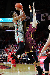 NORMAL, IL - February 02: Zach Copeland takes a jumper over Isaiah Bujdoso during a college basketball game between the ISU Redbirds and the University of Loyola Chicago Ramblers on February 02 2019 at Redbird Arena in Normal, IL. (Photo by Alan Look)