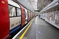The London Underground almost empty as the lockdown rules eased