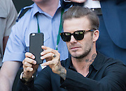 WIMBLEDON - GB -  6th July 2016: The Wimbledon Tennis Championship at the All England Lawn Tennis Club in S.E. London.<br /> <br /> Roger Federer vs Marin Cilic Quarter final match.<br /> Watched by: David Beckham and his sons<br /> ©Ian Jones/Exclusivepix Media