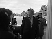 New Government Receive Seals Of Office.   (N84)..1981..30.06.1981..06.30.1981..30th June 1981..The newly elected Fine Gael /Labour coalition government under Dr Garret Fitzgerald received their seals of office from President Hillery at Áras an Uachtaráin today...Image shows Dr Garret Fitzgerald TD arriving at the Áras to receive his seal of office as Taoiseach of the newly elected government.