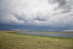 abstract of a lake and storm in New Mexico