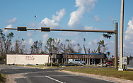 Message for Trump on Hurricane Michael damaged building in Callaway, Florida.