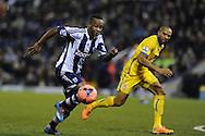 West Brom's Saido Berahino goes past Danny Gabbidon of Crystal Palace.FA Cup with Budweiser, 3rd round, West Bromwich Albion v Crystal Palace match at the Hawthorns in Birmingham, England on Saturday 4th Jan 2014.<br /> pic by Andrew Orchard, Andrew Orchard sports photography.