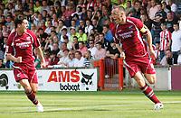 Photo: Steve Bond.<br />Scunthorpe United v Sheffield United. Coca Cola Championship. 01/09/2007. Scorer Andy Crosby (R) turns to celebrate
