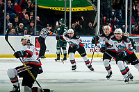 KELOWNA, BC - FEBRUARY 28:   Conner McDonald #7 celebrates a goal with  Mark Liwiski #9,  Matthew Wedman #20 and Kyle Topping #24 of the Kelowna Rockets against the Everett Silvertips at Prospera Place on February 28, 2020 in Kelowna, Canada. (Photo by Marissa Baecker/Shoot the Breeze)