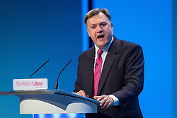 © Licensed to London News Pictures . 23/09/2013 . Brighton , UK . ED BALLS , MP for Morley and Outwood and Shadow Chancellor of the Exchequer , addresses the conference this afternoon (Monday 23rd September 2013) . Day 2 of the Labour Party 's annual conference in Brighton . Photo credit : Joel Goodman/LNP