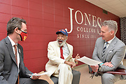 """Ellisville,MS 4/12/21 Pictured is James Meredith center speaking with the Dean of Jones College, left and a history teacher from the college. Mississippi's native son and civil rights icon James Meredith speaks at Jones College. Meredith gave a speech entitled """" To our Future: Toward A New Day for Mississippi.""""  Meredith and Judge Charles Pickering spoke to a group of students about their experiences living in Mississippi. Meredith was. The first Black student at the University of Mississippi in 1962, and it took the US Supreme Court to get him in after riot on campus. Judge Pickering stood up to the KKK inMississippi, both men have lots to share. They both also feel the answer to America's issues including race and poverty come from Jesus Christ and the Golden Rule. Meredith also spoke about how religion and government must be respected and how to make a just society. ©Suzi Altman"""
