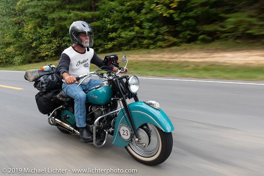 Joe Ferri riding his restored 1947 Indian Chief in the Cross Country Chase motorcycle endurance run from Sault Sainte Marie, MI to Key West, FL (for vintage bikes from 1930-1948). Stage 5 had riders cover 213 miles from Bowling Green, KY to Chatanooga, TN USA. Tuesday, September 10, 2019. Photography ©2019 Michael Lichter.