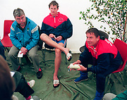 Tampere Kaukajaervi,  FINLAND.   Men's Four, GBR M4-.  interview, left mike HAGGERTY, Rupert OBHOLZER, Jurgen GROBLER,  the 1995 World Rowing Championships - Lake Tampere, 08.1995<br /> <br /> [Mandatory Credit; Peter Spurrier/Intersport-images] Re-Edited and file ref No. updated, 16th January 2021.