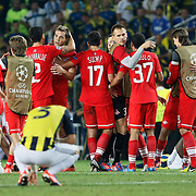 Spartak Moscow's players celebrate their victory over Fenerbahce during their UEFA Champions League Play-Offs, 2nd leg soccer match Fenerbahce between Spartak Moscow at Sukru Saracaoglu stadium in Istanbul Turkey on Wednesday 29 August 2012. Photo by TURKPIX