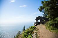 Stone shelter atop Cape Perpetua Scenic Area, Oregon.