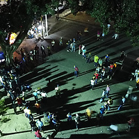 A crowd gathered around musicians in the Parque Central of Tegucigalpa