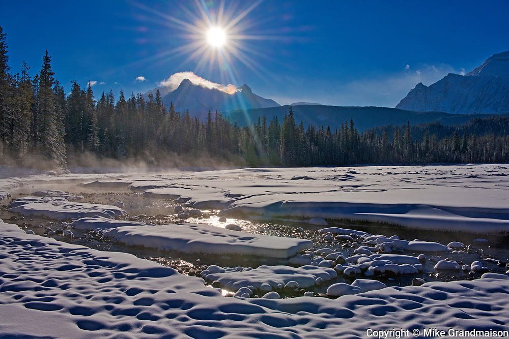 Athabasca River along the Icefields Parkway. The Canadian Rocky Mountains , Jasper National Park, Alberta, Canada