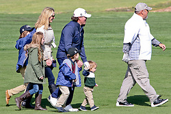 """Feb 6, 2019 Pebble Beach, Ca. USA TV, Film and singing stars that included Country singer, CLAY WALKER ther with his kids and 2nd Wife, JESSICA CRAIG who meets LARRY THE CABLE GUY whom played in the """"3M Celebrity Challenge"""" to try for part of the 100K purse to go to their favorite charity and win the Estwood-Murray cup, for which team Clint Eastwwod's group won.. The event took place during practice day of the PGA AT&T National Pro-Am golf on the Pebble Beach Golf Links. Photo by Dane Andrew c. 2019 contact: 408 744-9017  TenPressMedia@gmail.com"""