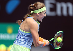 MELBOURNE, Jan. 15, 2018  Jelena Ostapenko of Latvia hits a return during the women's singles first round match against Francesca Schiavone of Italy at Australian Open 2018 in Melbourne, Australia, Jan. 15, 2018. Ostapenko won 2-0. (Credit Image: © Li Peng/Xinhua via ZUMA Wire)