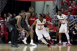 20 March 2017:  Paris Lee(1) looks for a way past B.J. Taylor during a College NIT (National Invitational Tournament) 2nd round mens basketball game between the UCF (University of Central Florida) Knights and Illinois State Redbirds in  Redbird Arena, Normal IL