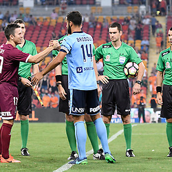 BRISBANE, AUSTRALIA - FEBRUARY 3: Matt McKay of the Roar and Alex Brosque of Sydney shake hands before the round 18 Hyundai A-League match between the Brisbane Roar and Sydney FC at Suncorp Stadium on February 3, 2017 in Brisbane, Australia. (Photo by Patrick Kearney/Brisbane Roar)
