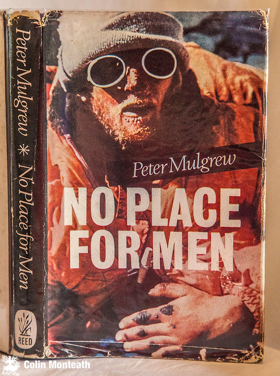 NO PLACE FOR MEN, Peter Mulgrew, AH & W Reed, Auckland, 1964, 200 page hardback with near complete jacket - a few chips on top/tail of spine, fep page cut/not affecting text, B&W plates, diagrams -  After a hunt for the yeti a New Zealand expedition to Makalu in Nepal Himalaya goes drastically wrong with Mulgrew collapses with altitude sickness high on the mountain sparking off a dramatic rescue - $NZ35