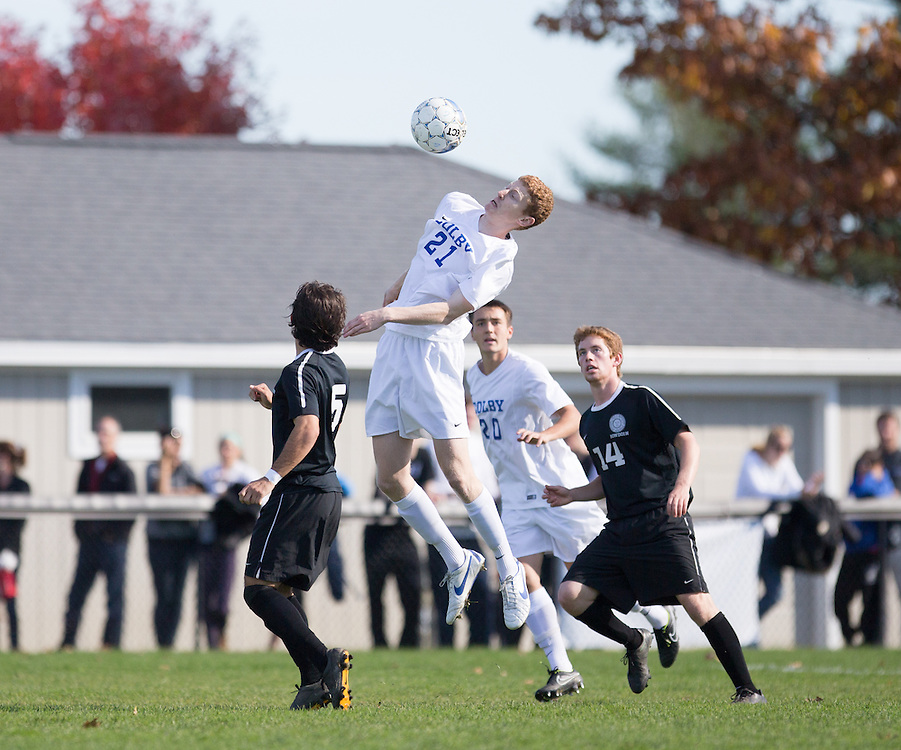 Tim Stanton, of Colby College, during a NCAA Division III men's soccer game on October 25, 2014 in Waterville, ME. (Dustin Satloff/Colby College Athletics)