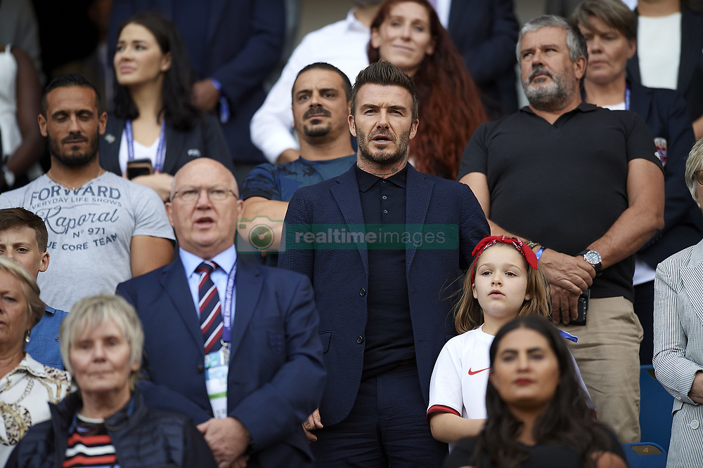 June 27, 2019 - Le Havre, France - David Beckam during the 2019 FIFA Women's World Cup France Quarter Final match between Norway and England at  on June 27, 2019 in Le Havre, France. (Credit Image: © Jose Breton/NurPhoto via ZUMA Press)