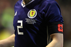 Scotland's Ryan Jack wears a poppy armband during the International Friendly match at Pittodrie, Aberdeen. PRESS ASSOCIATION Photo. Picture date: Thursday November 9, 2017. See PA story SOCCER Scotland. Photo credit should read: Andrew Milligan/PA Wire. RESTRICTIONS: Use subject to Scottish FA restrictions. Editorial use only. Commercial use only with prior written consent of the Scottish FA. No editing except cropping.