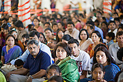 18 MAY 2008 -- MARICOPA, AZ: Hindus listen to priests during the blessing of a new Hindu temple in Maricopa, AZ, Sunday. More than 3,000 Hindus from Arizona, southern California and New Mexico came to Maricopa, a small town in the desert about 50 miles south of Phoenix, for the dedication of the Maha Ganapati Temple of Arizona. It is the first Hindu temple in Arizona designed according to ancient South Indian Hindu architectural guides. Craftsmen from India came to Maricopa to complete the interior details of the temple. The dedication ceremonies lasted three days.   Photo by Jack Kurtz / ZUMA Press