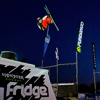 Niklas Ericsson from Sweden performs his trick during the freestyle skiing competition held on the 35 meters high artificial ski jumping ramp on the Monster Energy Fridge Festival in central Budapest, Hungary on November 12, 2011. ATTILA VOLGYI