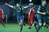 Mark Buchan of Kendal Town (10) scores a goal and celebrates to make the score 1-1 during the The FA Cup Preliminary Round match between Selby Town and Kendal Town at the Fairfax Plant Hire Stadium, Selby, United Kingdom on 4 September 2018.
