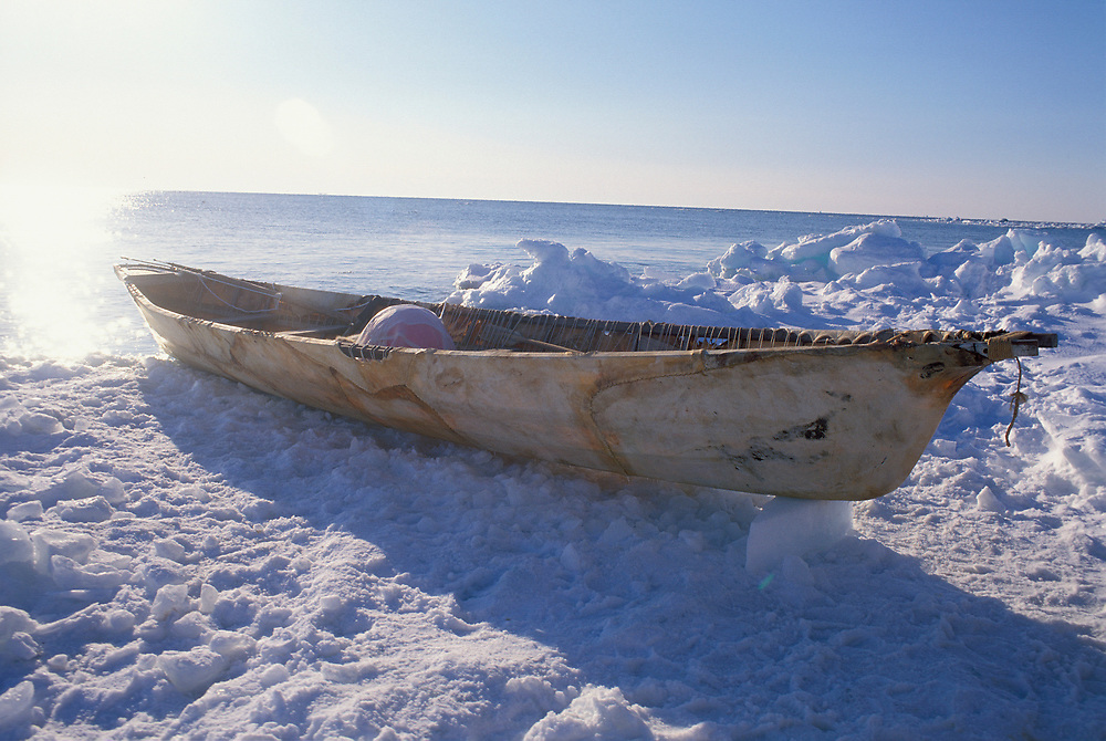 Barrow, Alaska, Traditional umiak, a seal skin canoe sits ready to launch at the edge of sea ice on the Chukchi Sea.
