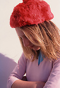 A793JA Young blonde pretty girl wearing soft red hat